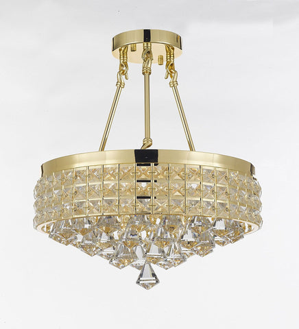 Semi Flush Mount French Empire Crystal Chandelier Chandeliers Lighting Ht 17 X Wd 15 4 Lights Crystal Gold Metal Shade flushmount Rustic Modern - 26005/4