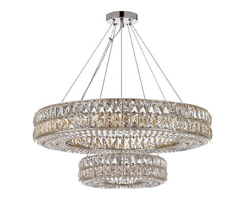 "Crystal Spiridon Ring Chandelier Modern/Contemporary Lighting Pendant 40"" Wide - for Dining Room, Foyer, Entryway, Family Room - Double Ring! - GB104-3063/14+8"