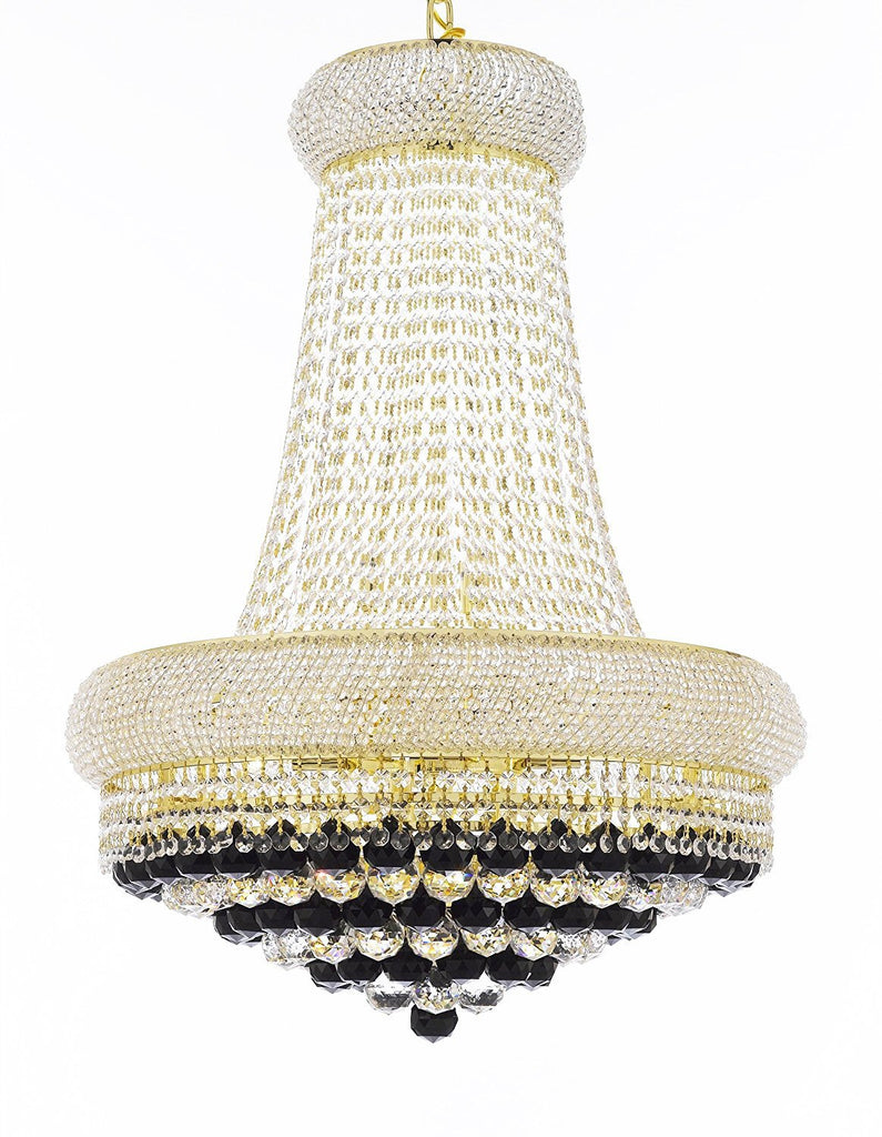 "Swarovski Crystal Trimmed French Empire Crystal Chandelier Chandeliers H32"" X W24"" Dressed with Jet Black Crystal Balls - Good for Dining Room, Foyer, Entryway, Family Room and More - F93-B95/CG/542/15SW"