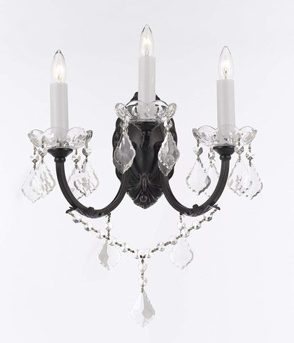 "Wrought Iron Wall Sconce Crystal Wall Sconces Lighting W 11.5"" H 14"" D 17"" - G83-3/556"