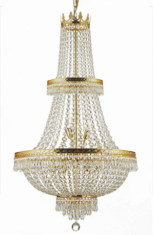 "French Empire Crystal Chandelier Lighting H50"" X W24"" Good for Foyer, Entryway, Family Room, Living Room and More! - F93-CG/870/15"