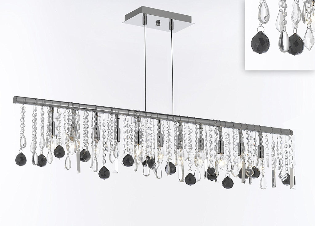 "Modern Contemporary Broadway Linear Crystal Chandelier Lighting Lamp - Dressed with Jet Black Crystal Balls 48"" Wide - Great for Dining Room, Kitchen, Billiard Pool Table Lighting! - J10-B95/26064/11"