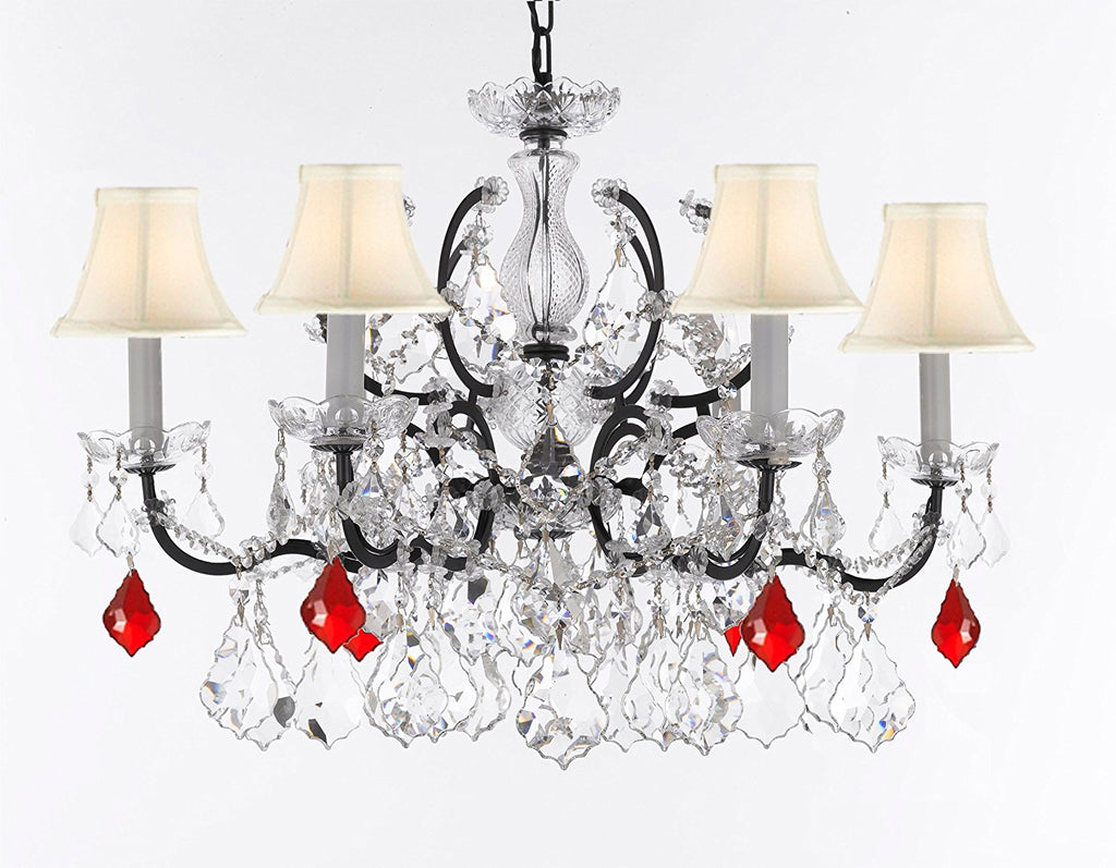 "19th C. Rococo Iron & Crystal Chandelier Lighting Dressed w/Empress Crystal (tm) - Dressed with Ruby Red Crystals Great for Kitchens, Closets, & Dining Rooms H 25"" x W 26"" w'White Shades - G83-B98/WHITESHADES/994/6"