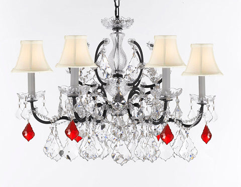 "Swarovski Crystal Trimmed Chandelier 19th C. Rococo Iron & Crystal Lighting- Dressed with Ruby Red Crystals Great for Kitchens, Bathrooms, Closets, and Dining Rooms H 25"" x W 26"" w/ White Shades - G83-B98/WHITESHADES/994/6SW"