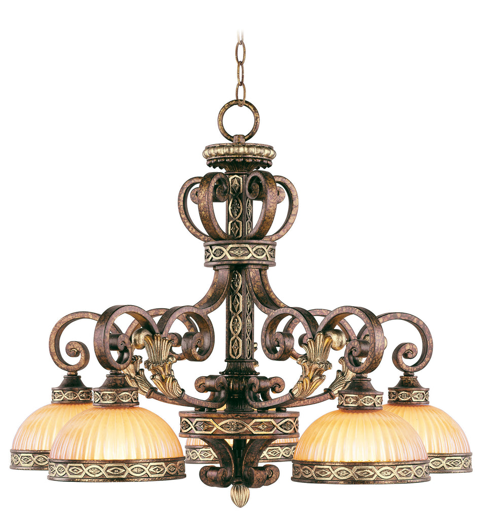 Livex Seville 5 Light PBZ Chandelier - C185-8525-64