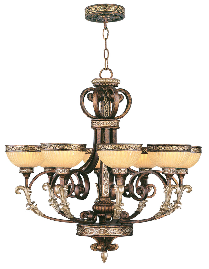 Livex Seville 8 Light PBZ Chandelier - C185-8528-64
