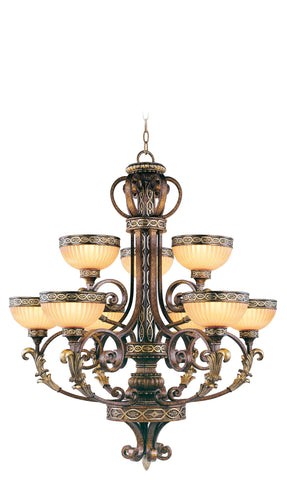 Livex Seville 9 Light PBZ Chandelier - C185-8529-64