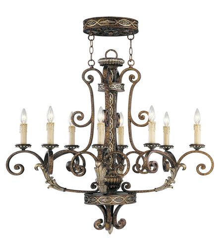 Livex Seville 8 Light PBZ Oval Chandelier - C185-8538-64