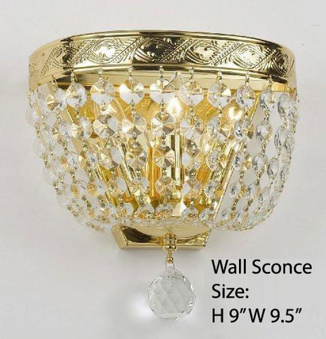 "Empire Crystal Wall Sconce Lighting W 9.5"" H 9"" D 5"" - Co-Wallscone/3/3 Gd W/C"