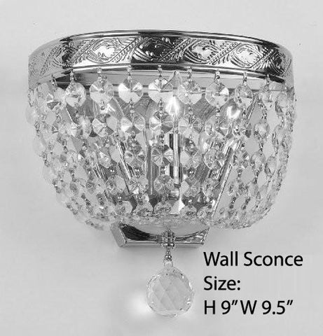 "Empire Crystal Wall Sconce Lighting W 9.5"" H 9"" D 5"" - Co-Wallscone/3/3 Ch W/C"