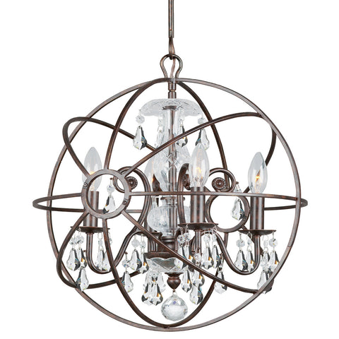 4 Light English Bronze Industrial Mini Chandelier Draped In Clear Hand Cut Crystal - C193-9025-EB-CL-MWP