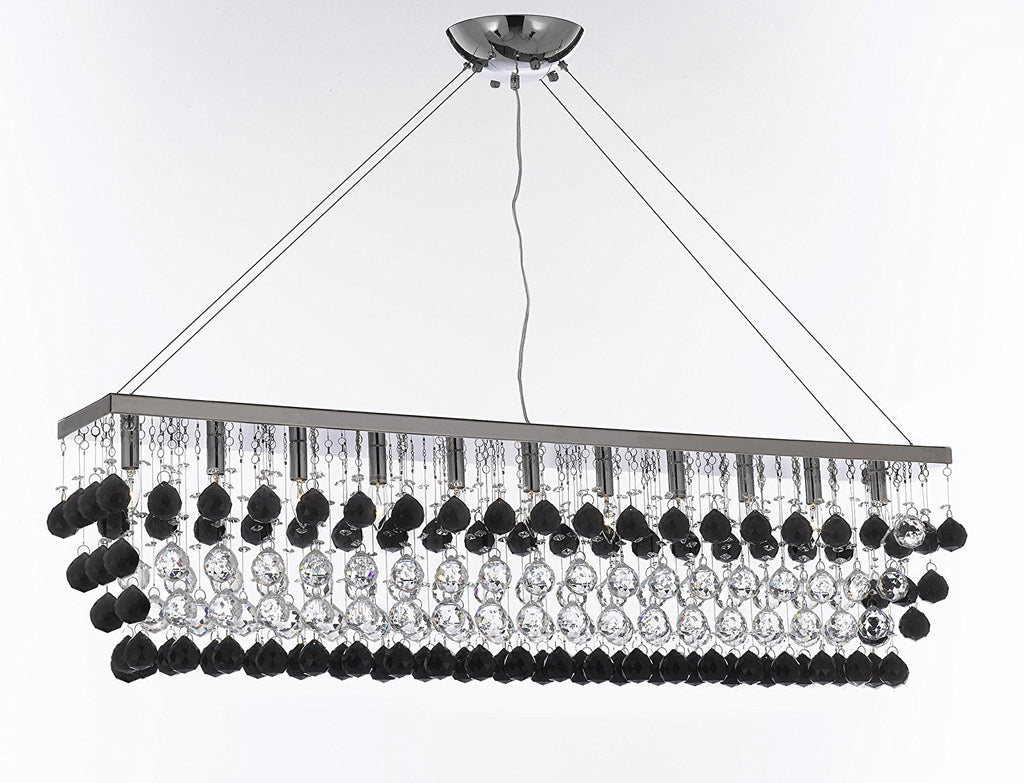 "Modern Contemporary ""Rain Drop"" Linear Chandelier Light Lighting Chandeliers- Dressed with Jet Black Crystal Balls Great Dining Room or Billiard Pool Table Lighting - F7-B956/926/11"