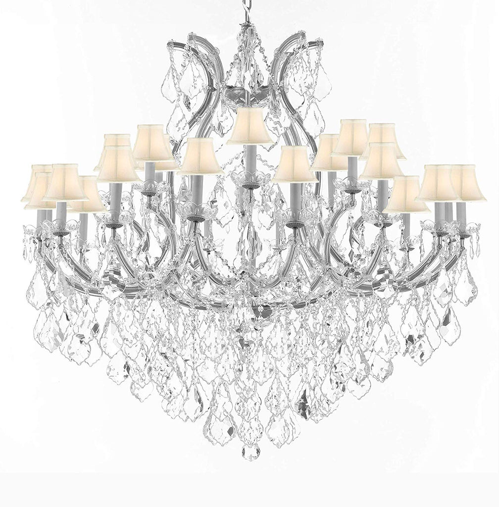 "Crystal Chandelier Lighting Chandeliers H46"" X W46"" Dressed with Large,Luxe, Diamond Cut Crystals! Great for The Foyer, Entry Way, Living Room, Family Room and More w/White Shades - A83-B90/CS/WHITESHADES/2MT/24+1DC"