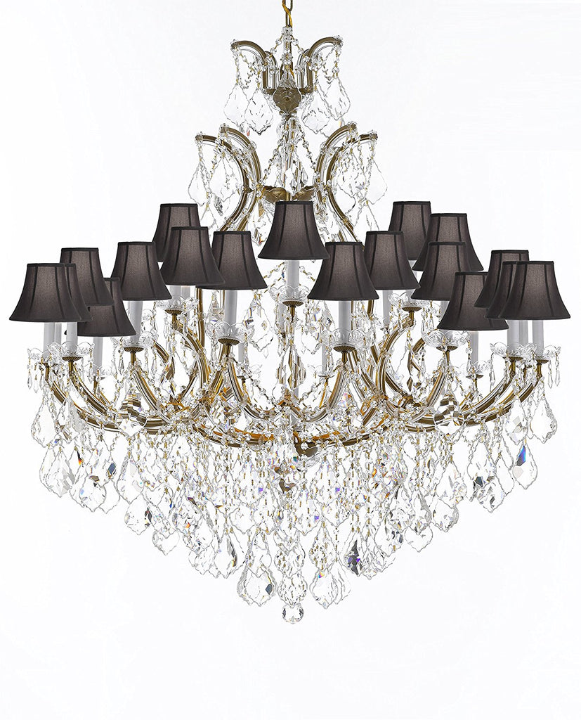 "Swarovski Crystal Trimmed Chandelier Lighting Chandeliers H52"" X W46"" Dressed with Large, Luxe Crystals - Great for the Foyer, Entry Way, Living Room, Family Room and More w/Black Shades - A83-B90/BLACKSHADES/52/2MT/24+1SW"