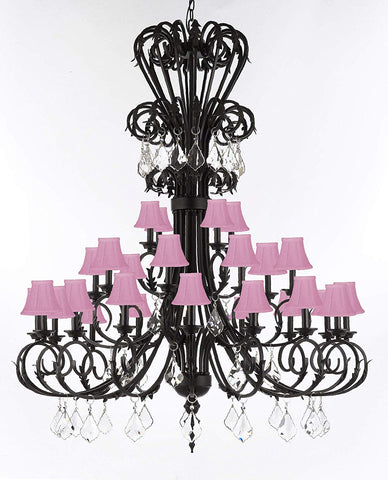 "Versailles Large Foyer/Entryway Wrought Iron Chandelier with Crystal and Shades 60"" Inches Tall - T205-724/28/B7/SC/PINK"