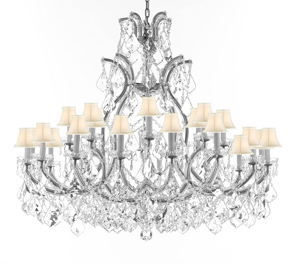 "Swarovski Crystal Trimmed Chandelier Lighting Chandeliers H41""X W46"" Great for the Foyer, Entry Way, Living Room, Family Room and More w/White Shades - A83-B62/CS/WHITESHADES/52/2MT/24+1SW"