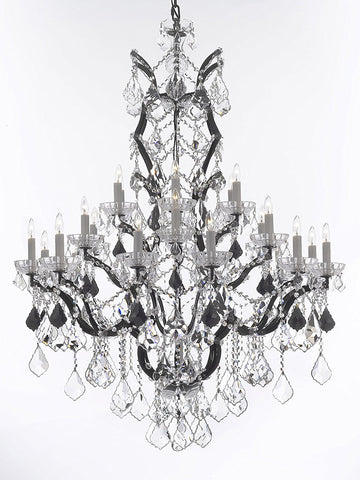 "Swarovski Crystal Trimmed Chandelier 19th C. Rococo Iron & Crystal Chandelier Lighting Dressed with Jet Black Crystals H 52"" x W 41"" - Great for the Dining Room, Foyer, Entry Way, Living Room - G83-B97/996/25SW"