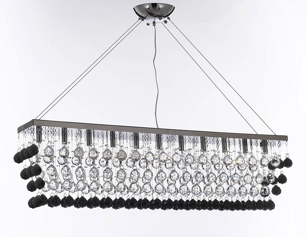 "Modern Contemporary ""Rain Drop"" Linear Chandelier Light Lighting Chandeliers-Dressed with Jet Black Crystal Balls Great for Dining Room or Billiard Pool Table Lighting - F7-B955/926/11"