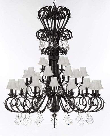 "Versailles Large Foyer/Entryway Wrought Iron Chandelier with Crystal and Shades 60"" Inches Tall - T205-724/28/B7/SC/WHT"