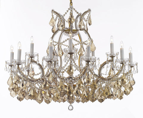 "Maria Theresa Chandelier Crystal Lighting H28"" X W37"" W/ Golden Teak Crystal Good For Dining Room Entryway Living Room - A83-B2/B62/Goldenteak/Gold/21510/15+1"