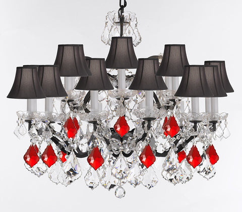 "19th C. Rococo Iron & Crystal Chandelier Lighting Dressed w/Empress Crystal (tm) - Dressed w/Ruby Red Crystals Great for Kitchens, Closets, and Dining Rooms H 28"" x W 30"" w/Black Shades - G83-B98/BLACKSHADES/995/18"