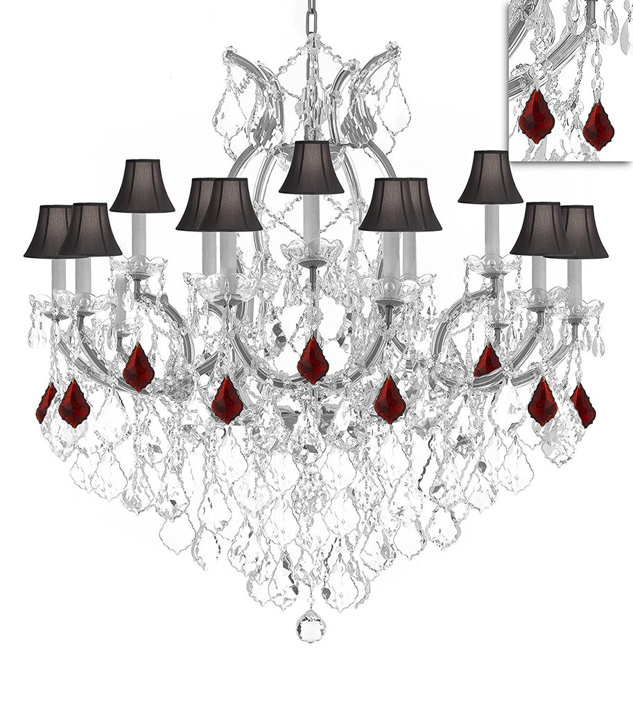 "Maria Theresa Chandelier Crystal Lighting Chandeliers Lights Fixture Pendant Ceiling Lamp for Dining room, Entryway , Living room H38"" X W37"" - Dressed w/Ruby Red Crystals and Black Shades - A83-B98/BLACKSHADES/SILVER/21510/15+1"
