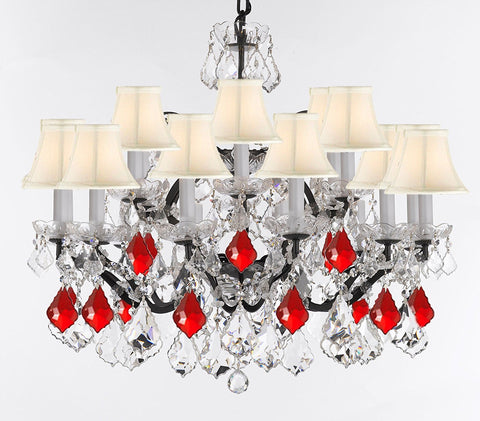 "19th C. Rococo Iron & Crystal Chandelier Lighting Dressed w/Empress Crystal (tm) - Dressed w/Ruby Red Crystals Great for Kitchens, Closets, and Dining Rooms H 28"" x W 30"" w/White Shades - G83-B98/WHITESHADES/995/18"