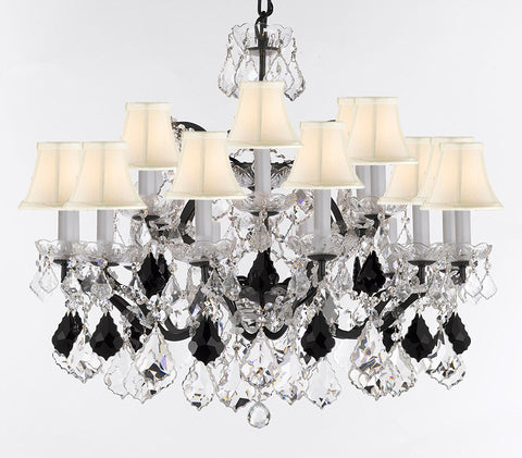 "Swarovski Crystal Trimmed Chandelier 19th C. Rococo Iron & Crystal Chandelier Lighting- Dressed w/Jet Black Crystals Great for Kitchens, Bathrooms, Closets, &Dining Rooms H 28""xW 30"" w/White Shades - G83-B97/WHITESHADES/995/18SW"