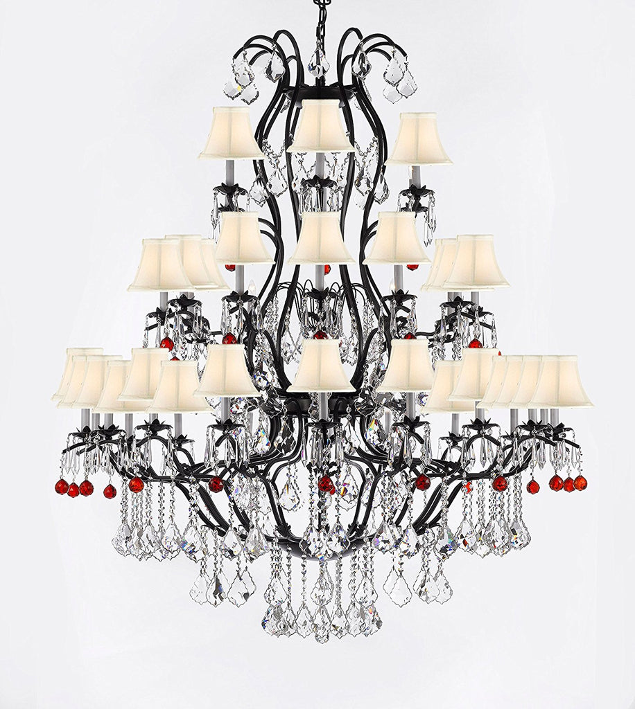"Large Wrought Iron Chandelier Chandeliers Lighting With Ruby Red Crystal Balls H60"" x W52"" - Great for the Entryway, Foyer, Family Room, Living Room w/White Shades - A83-B96/WHITESHADES/3031/36"