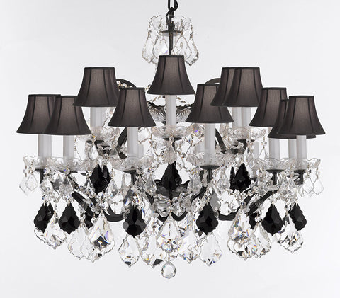 "19th C. Rococo Iron & Crystal Chandelier Lighting Dressed w/Empress Crystal (tm) - Dressed w/Jet Black Crystals Great for Kitchens, Closets, and Dining Rooms H 28"" x W 30"" w/Black Shades - G83-B97/BLACKSHADES/995/18"