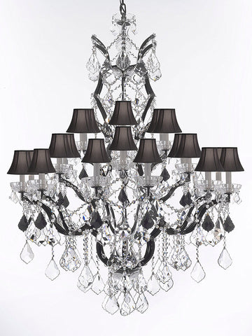 "19th C. Rococo Iron & Crystal Chandelier Lighting Dressed with Jet Black Crystals H 52"" x W 41"" - Great for the Dining Room, Foyer, Entry Way, Living Room w/ Black Shades - G83-B97/BLACKSHADES/996/25"