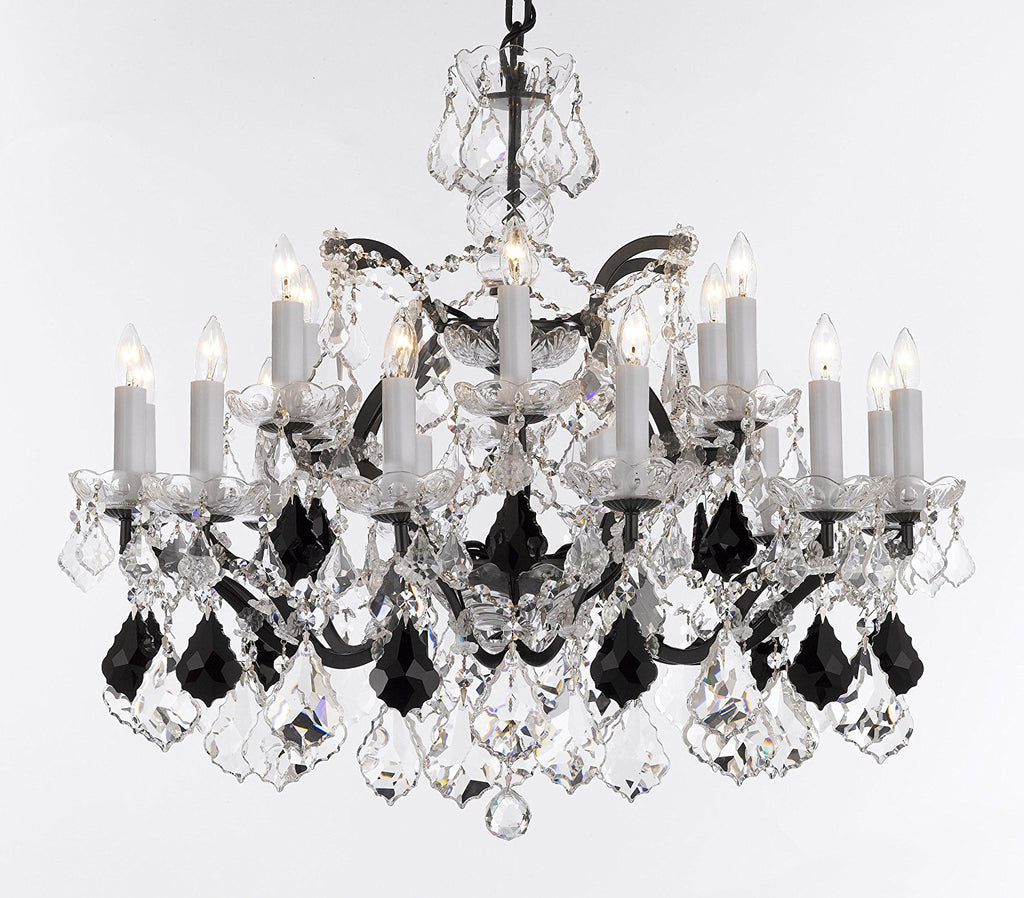 "19th C. Rococo Iron & Crystal Chandelier Lighting Dressed with Empress Crystal (tm) - Dressed with Jet Black Crystals Great for Kitchens, Bedrooms, Closets, and Dining Rooms H 28"" x W 30"" - G83-B97/995/18"