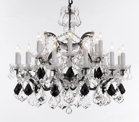 "Swarovski Crystal Trimmed Chandelier 19th C. Rococo Iron & Crystal Chandelier Lighting- Dressed with Jet Black Crystals Great for Kitchens, Bathrooms, Closets, and Dining Rooms H 28"" x W 30"" - G83-B97/995/18SW"