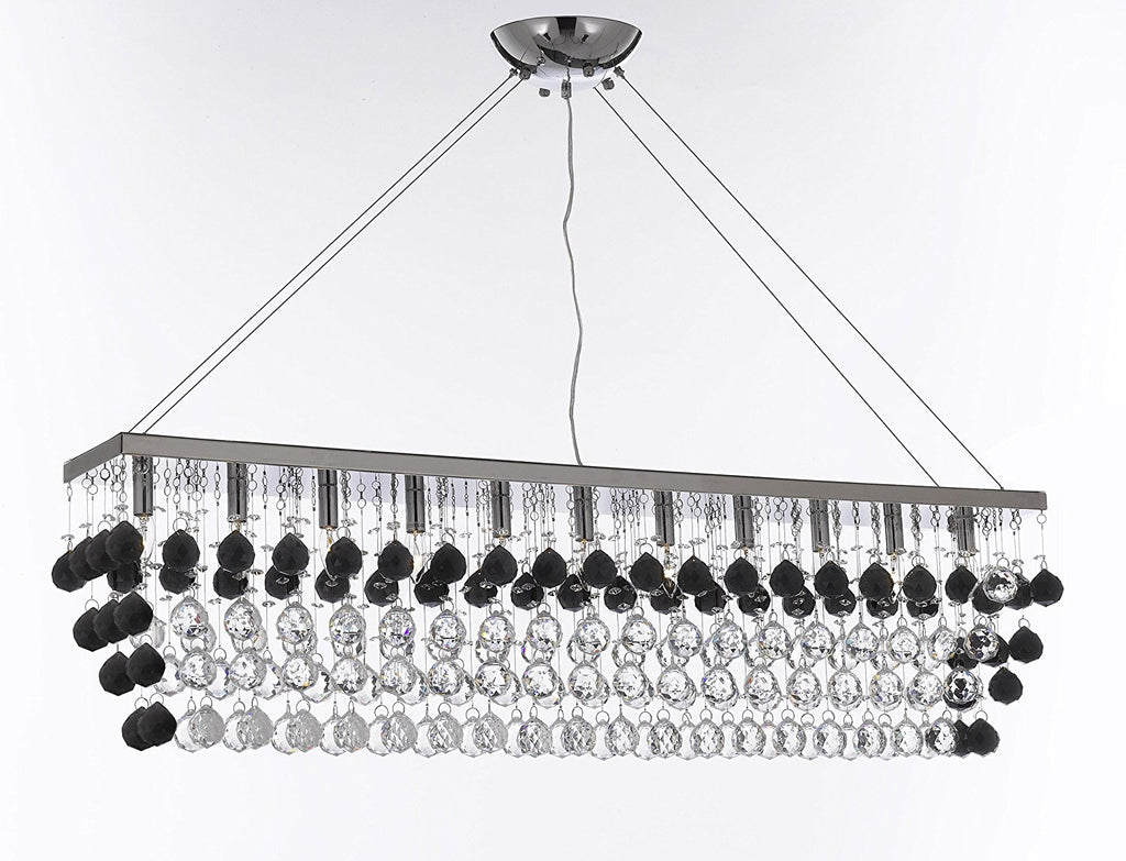 "Modern Contemporary ""Rain Drop"" Linear Chandelier Light Lighting Chandeliers- Dressed with Jet Black Crystal Balls Great for Dining Room or Billiard Pool Table Lighting - F7-B954/926/11"