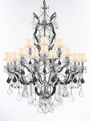 "Swarovski Crystal Trimmed Chandelier 19th C. Rococo Iron & Crystal Chandelier Lighting Dressed w/Jet Black Crystals H 52"" x W 41"" - Great for the Dining Room, Entry Way, Living Room w/White Shades - G83-B97/WHITESHADES/996/25SW"