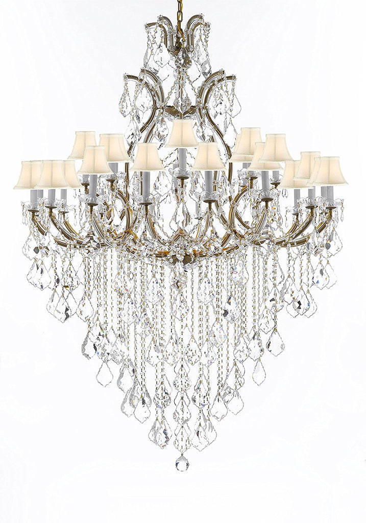 "Swarovski Crystal Trimmed Chandelier Lighting Chandeliers H65"" X W46"" Great for the Foyer, Entry Way, Living Room, Family Room and More w/White Shades - A83-B12/WHITESHADES/52/2MT/24+1SW"