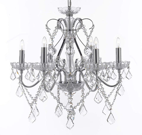 "Versailles Crystal Chandelier Chandeliers Lighting H23"" W24"" - Great for The Foyer, Entryway, Family Room, Living Room, Dining Room, Bedroom, and More! - G7-4192/6"