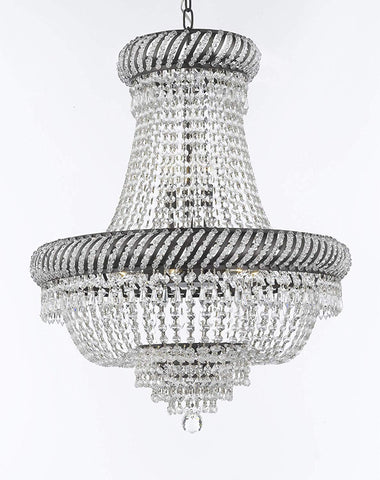 "French Empire Crystal Chandelier Chandeliers Lighting H26"" X W23"" with Dark Antique Finish! Great for Dining Room, Foyer, Entryway, Family Room and More! - F93-CB/448/9"