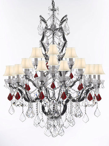 "19th C. Rococo Iron & Crystal Chandelier Lighting Dressed with Ruby Red Crystals H 52"" x W 41"" - Great for the Dining Room, Foyer, Entry Way, Living Room w/White Shades - G83-B98/WHITESHADES/996/25"