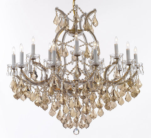 "Maria Theresa Chandelier Crystal Lighting H38"" X W37"" W/ Golden Teak Crystal Good For Dining Room Entryway Living Room - A83-B2/Goldenteak/Gold/21510/15+1"