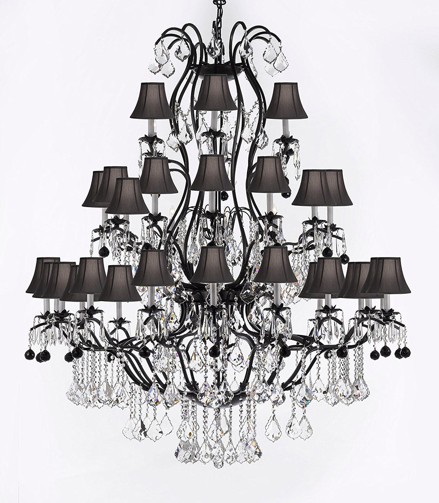 "Large Wrought Iron Chandelier Chandeliers Lighting With Jet Black Crystal Balls H60"" x W52"" - Great for the Entryway, Foyer, Family Room, Living Room w/ Black Shades - A83-B95/BLACKSHADES/3031/36"