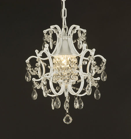 Jac D'Lights J10-592/1 Wrought Iron Crystal Chandelier 14x11x1-Inch White Wrought Country French Min Kitchen - J10-592/1-WHITE