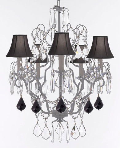 "White Wrought Iron Crystal Chandeliers Lighting H27"" x W21"" Dressed with Jet Black Crystal Great for Kitchens, Bathrooms, Bedrooms, Closets, and Dining Rooms w/Black Shades - J10-B97/BLACKSHADES/WHITE/26025/5"