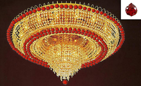 "French Empire Crystal Flush Chandelier Lighting H 19"" W 39"" Dressed with Ruby Red Color Balls! - G93-B104/LYS-6649"