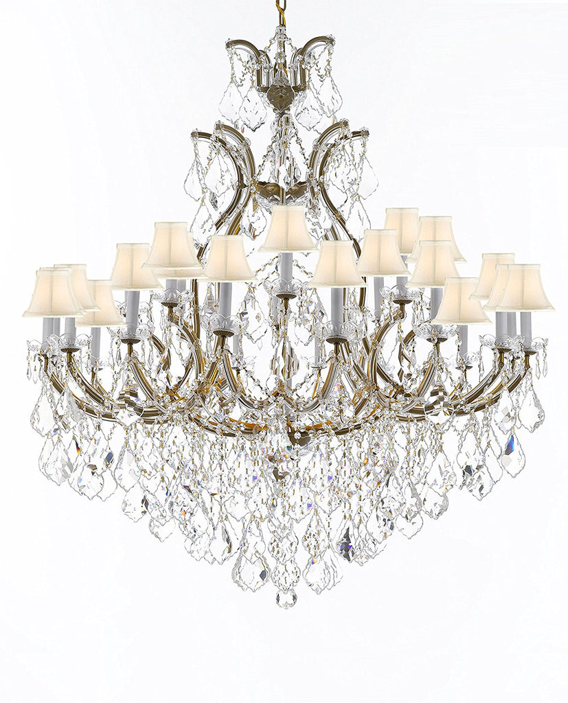 "Crystal Chandelier Lighting Chandeliers H52"" X W46"" Dressed with Large, Luxe, Diamond Cut Crystals Great for the Foyer, Entry Way, Living Room, Family Room and More w/White Shades - A83-B90/WHITESHADES/52/2MT/24+1DC"