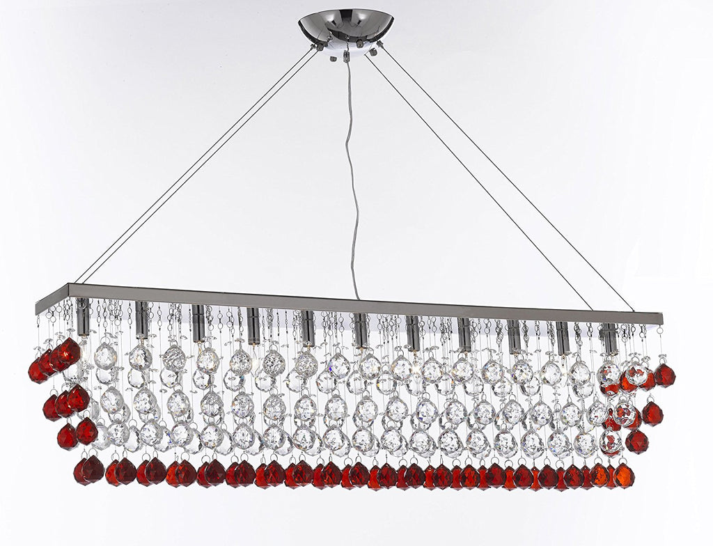 "Modern Contemporary ""Rain Drop"" Linear Chandelier Light Lighting Chandeliers - Dressed w/Ruby Red Crystal Balls Great for Dining Room or Billiard Pool Table Lighting - F7-B965/926/11"