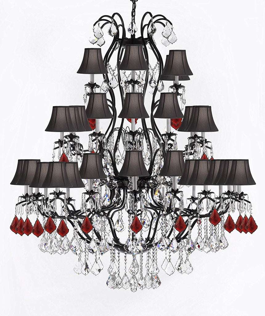 "Large Wrought Iron Chandelier Chandeliers Lighting With Ruby Red Crystals H60"" x W52"" - Great for the Entryway, Foyer, Family Room, Living Room w/ Black Shades - A83-B98/BLACKSHADES/3031/36"