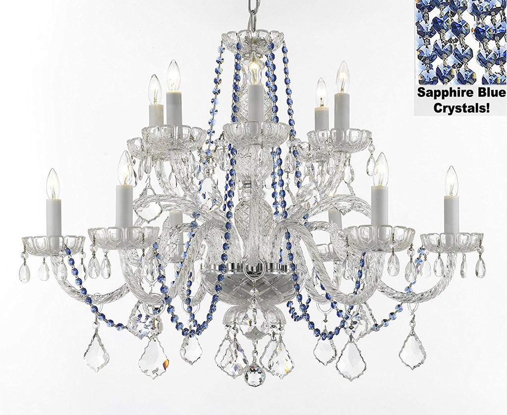 "AUTHENTIC ALL CRYSTAL CHANDELIER CHANDELIERS LIGHTING WITH SAPPHIRE BLUE CRYSTALS PERFECT FOR LIVING ROOM, DINING ROOM, KITCHEN H32"" W27"" - F46-B82/385/6+6"