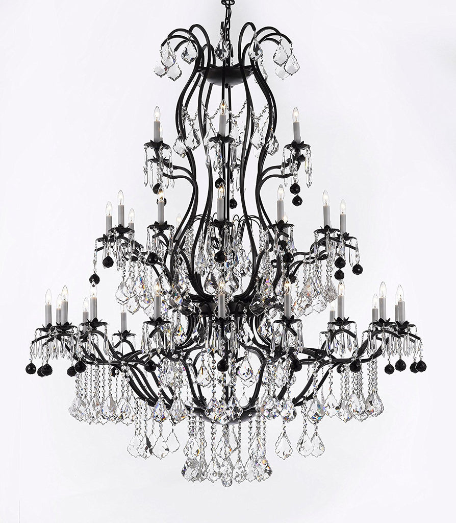 "Large Wrought Iron Chandelier Chandeliers Lighting With Jet Black Crystal Balls H60"" x W52"" - Great for the Entryway, Foyer, Family Room, Living Room - A83-B95/3031/36"