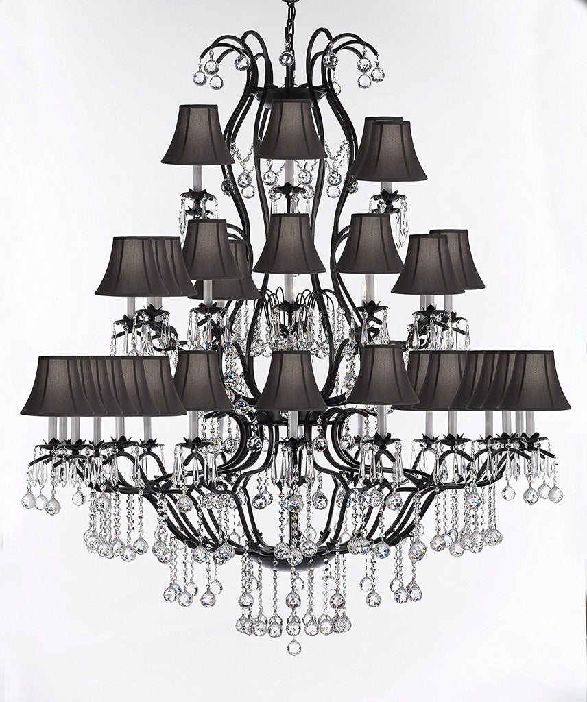 "Swarovski Crystal Trimmed Chandelier Large Wrought Iron Chandelier Chandeliers Lighting With Crystal Balls H60"" x W52"" - Great for the Entryway, Foyer, Family Room, Living Room w/Black Shades - A83-B6/BLACKSHADES/3031/36SW"